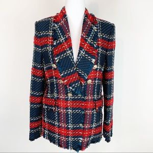 Zara women tweet Christmas plaid jacket size S